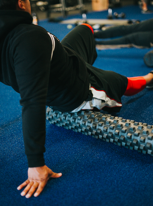 Woman with foam rollers