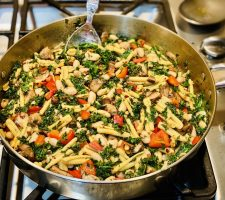 Pasta in a pan on the stovetop